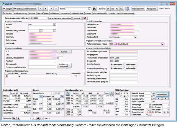 twodoxx - Optimal Lohn - Hotel & Gastro - Software - Screenshot Mitarbeiterverwaltung